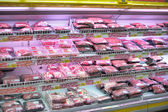 Shelf swith meat — Stock fotografie