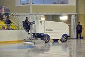 The machine for resurfacing ice in stadium. — Stock Photo