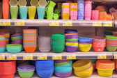 Bright plastic tableware — 图库照片