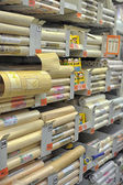 Rolls of wallpaper in the store — Photo