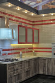 Modern kitchen for sale in the store construction materials and furnishings, St. Petersburg, Russia — Stock Photo