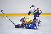 Children playing hockey on a city tournament St. Petersburg, Russia — Stockfoto