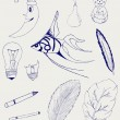 Set of Hand-Drawn Design Elements, Shapes, lightbulb, crescent, cigarette, fish, foliage, christmas toy — Stock Photo