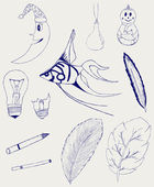 Set of Hand-Drawn Design Elements, Shapes, lightbulb, crescent, cigarette, fish, foliage, christmas toy — Stock Photo