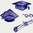 Постер, плакат: Graduation cap points and diploma