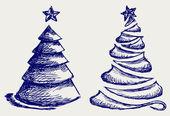 Abstract Christmas tree and star — Stock Photo