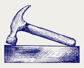 Hammer and bricks — Stock Photo