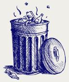 Lixeira cheia de lixo — Foto Stock