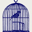 Wektor stockowy : Open brass birdcage and bird