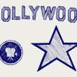 Hollywood. Doodle style — Stock Vector