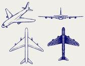 Vliegtuig. doodle stijl — Stockvector