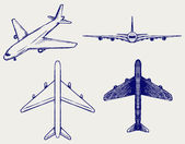 飛行機。落書きスタイル — ストックベクタ