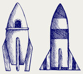Retro rocket — Stock Vector