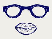 Okulary i usta sylwetki — Wektor stockowy