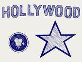 Hollywood. estilo doodle — Vector de stock