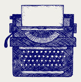 Typewriter. Doodle style — Stock Vector