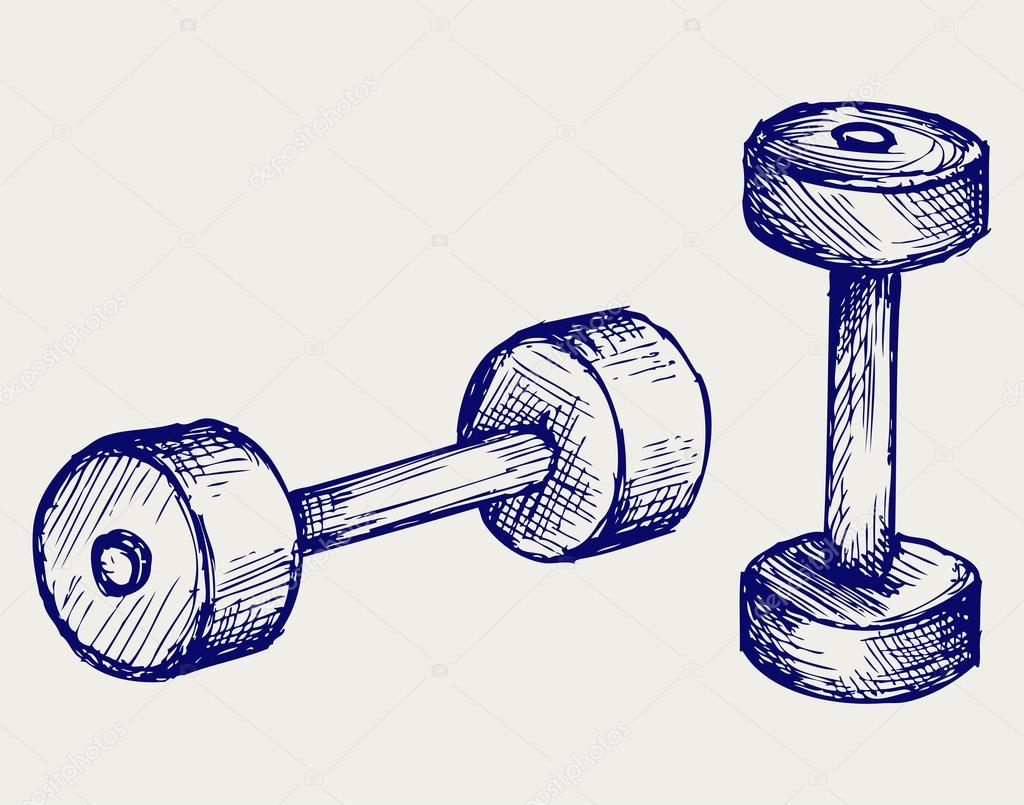 Sketch dumbbell weight — Stock Vector © Kreativ #17594669