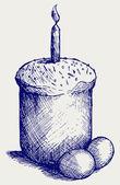 Uova e pane di pasqua — Vettoriale Stock