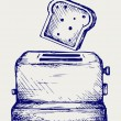 Stock Vector: Toast popping out of toaster