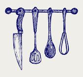 Rack of kitchen utensils — Stock Vector