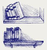 Books on the shelf — Stock Vector