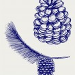 Pine branch with cones — Vector de stock