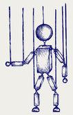 Wooden puppet — Stock Vector