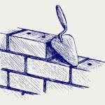 Trowel and bricks — Stock Vector