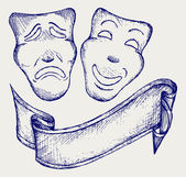 Comedy and tragedy theater masks — Stock Vector