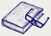 Kitap ve gözlük — Stok Vektör