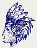 Portrait of american indian — Stock Vector