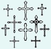 Religiöse kreuz designkollektion — Stockvektor