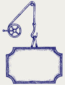 Gancho de um guindaste e banner — Vetorial Stock