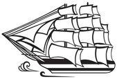 Antika ahşap uzun gemi — Stok Vektör