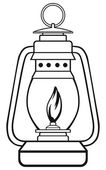 Old oil lamp — Stock Vector