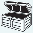 Vintage wooden chest — Stock Vector
