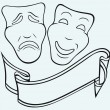 Comedy and Tragedy theatrical mask — Stock Vector