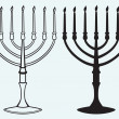 Hanukkah menorah with candles — Stock Vector