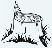 Old tree stump — Stock Vector