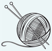 Ball of yarn and needles — Stock Vector