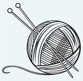 Sfera di filato e aghi — Vettoriale Stock