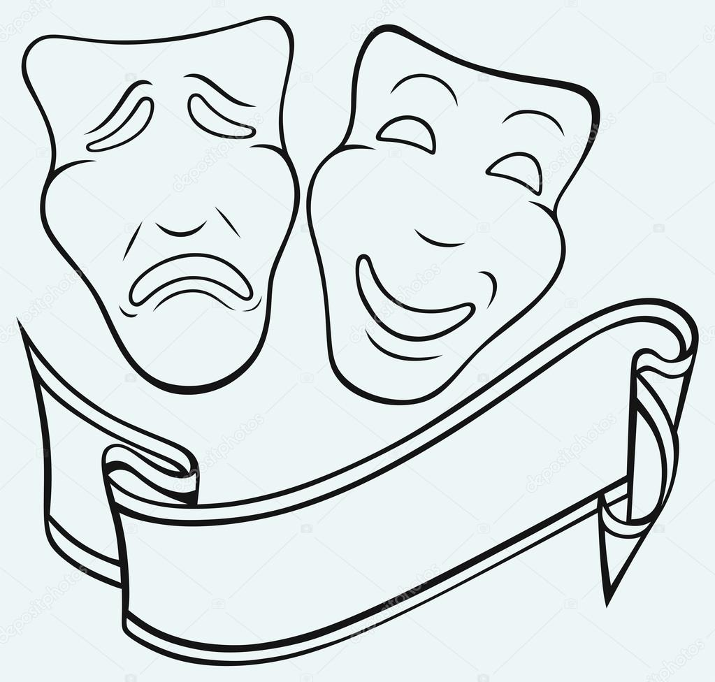 comedy and tragedy theatrical mask stock vector