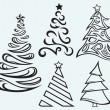 Collection of Christmas fur-trees — Vector de stock