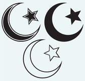 Religious Islamic Star and Crescent — Stockvector
