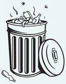 Trash bin full of garbage — Stock Vector