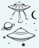 Space flying saucer — Stock Vector
