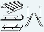 Par de esquís y trineos de madera — Vector de stock