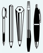 Pencil, pen and fountain pen icons — Vector de stock