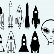 Stock Vector: Set icon rockets and alien