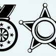 Sheriff badge and medal with ribbon — 图库矢量图片